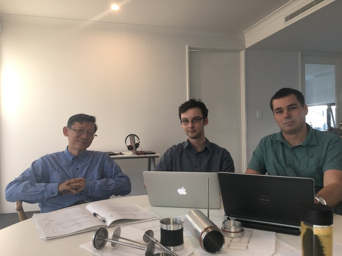 From left to right: Dr Her Mann Tsai (Inventor), Angus Ayres (Marketing & Communications), Stephen Phillips (Design Engineer)