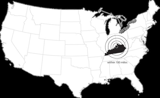 Within a 100 mile radius