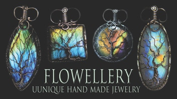 Gemstone Tree of life pendants by Flowellery - Jewellery