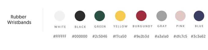 Rubber wristband color options