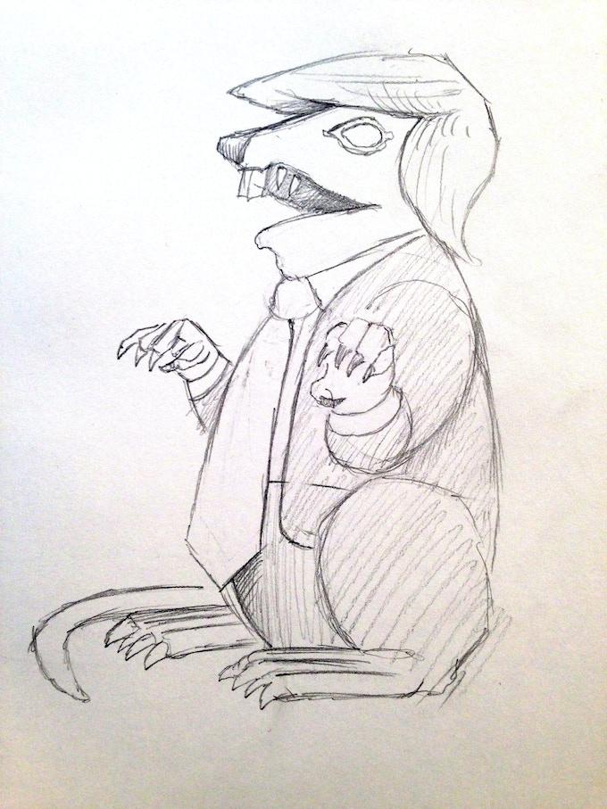 Jeffrey Beebe Trumpy The Rat Sketch, 2017