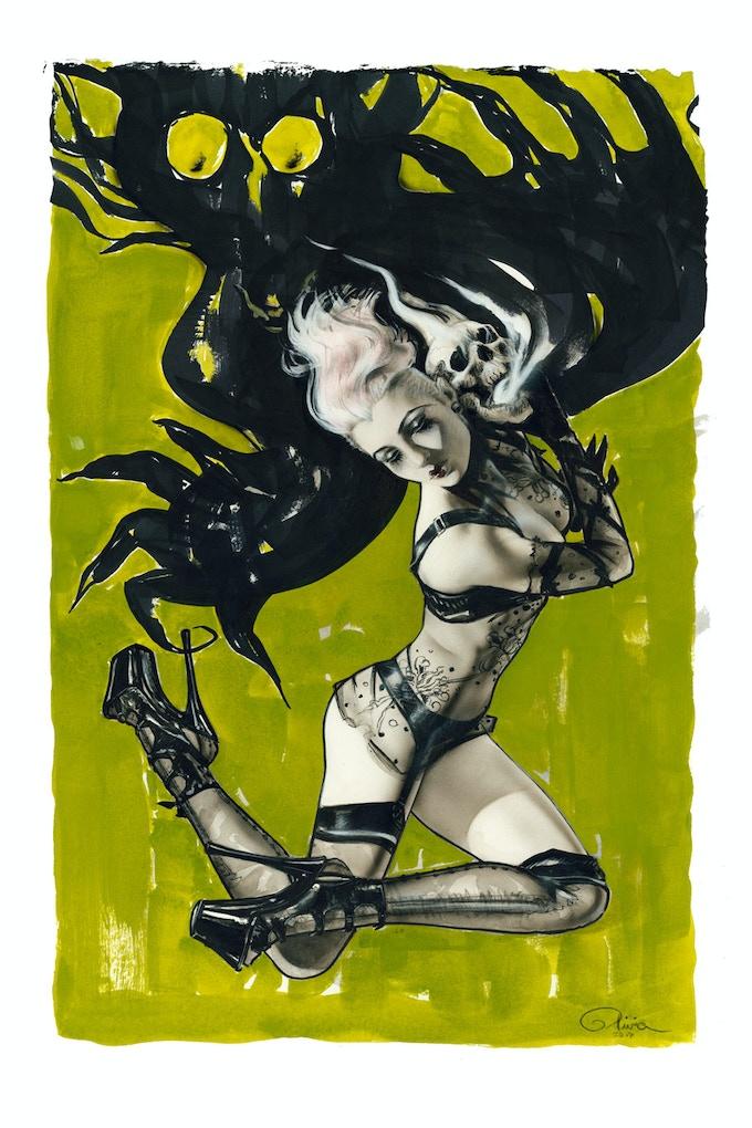 "Original Painting ""Mistress Of The Phantasmagoric Skull"" (approx. 15"" x 22"")"