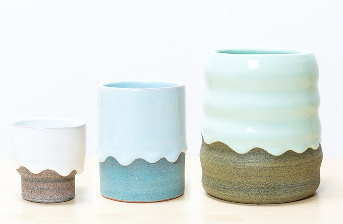 A grouping of small, medium and large drippy pots specially selected by us