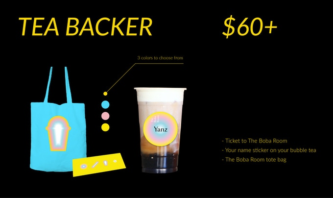 (1) Ticket to The Boba Room (2) Your name sticker on your bubble tea (3) The Boba Room tote bag