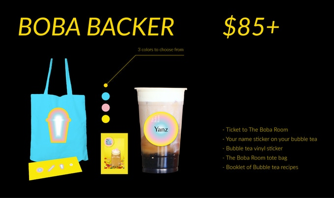 (1) Ticket to The Boba Room (2) Your name sticker on your bubble tea (3) Bubble tea vinyl sticker (4) The Boba Room tote bag (5) Booklet of Bubble tea recipes
