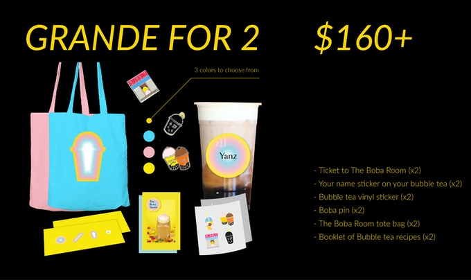 (1) Ticket to The Boba Room (x2) (2) Your name sticker on your bubble tea (x2) (3) Bubble tea vinyl sticker (x2) (4) Boba pin (x2) (5) The Boba Room tote bag (x2) (6) Booklet of Bubble tea recipes (x2)
