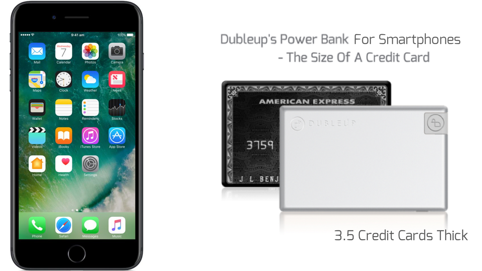 Charge your phone while you're on the move using Dubleup's Credit Card Sized Power Bank. It's the perfect fit for your wallet or purse.