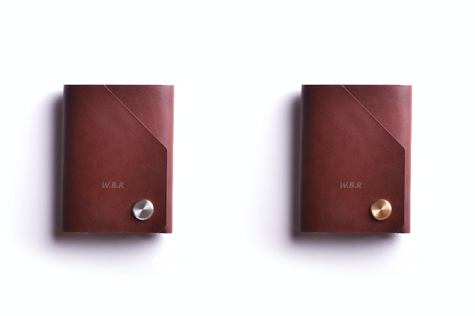 Chestnut leather, brass or stainless steel CNC fastener top