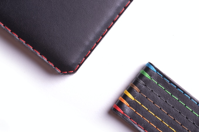 Vegetable tanned Charcoal leather, available stitched in 7 different threads