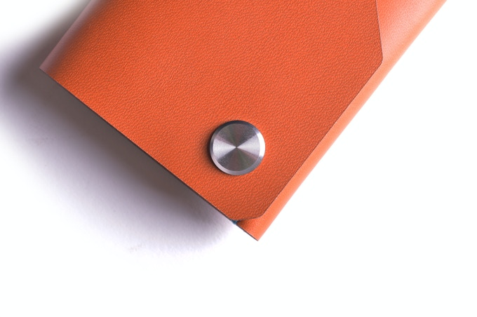 Whisky leather, stainless steel CNC fastener top