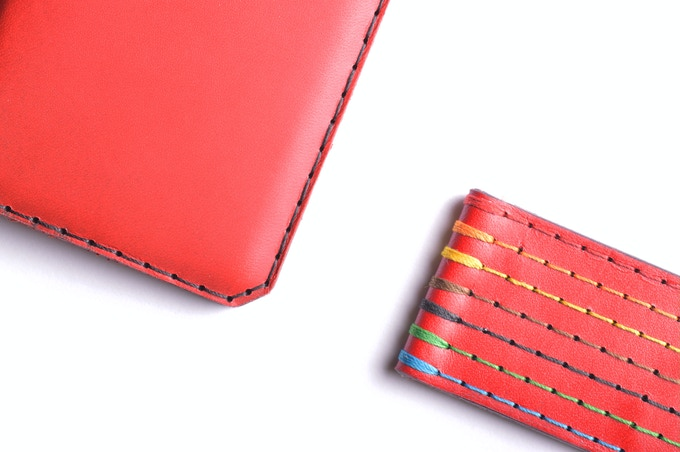 Vegetable tanned Chilli leather, available stitched in 7 different threads