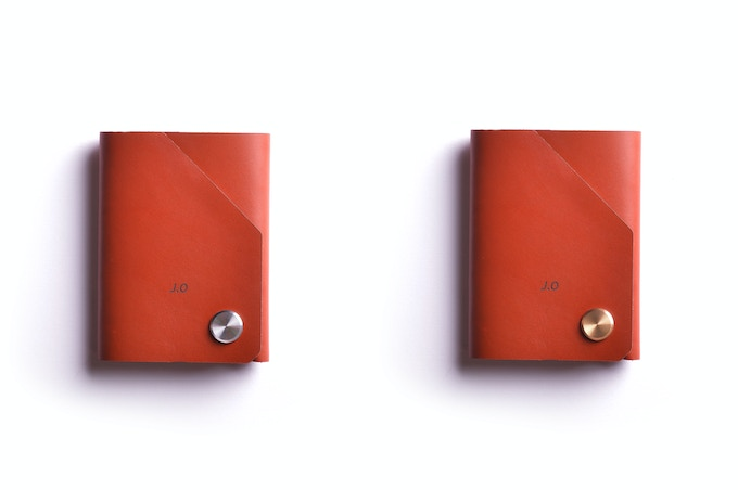 Cognac leather, stainless steel or brass CNC fastener top