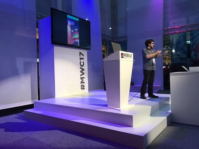 Simon on the showcase stage at MWC.