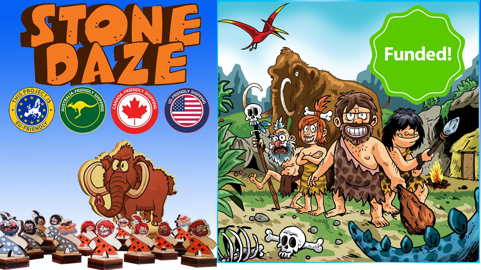 Lead a clan of extraordinary cave(wo)men in a game of tactics, guts and a little luck. Action packed primal family fun. 2 player/teams.If you pledged for a game you are entitled for an upgrade so...
