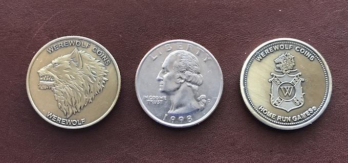 Werewolf coins weigh .250 oz. a US quarter weighs .200 oz.