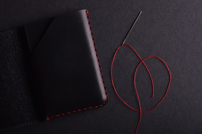 Charcoal leather with red thread