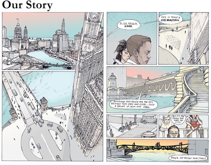 Chapter 1: The Past, 1928, p. 35-36. Reggie, Elisa and Bernard explore the wonders of Chicago's architectural and engineering innovations—but struggle to find a place downtown where they can just be together.