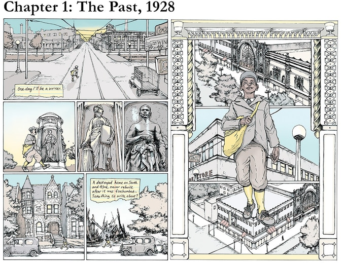 Chapter 1: The Past, 1928, p. 6-7. Reggie, a paperboy for the Chicago Defender, walks through Bronzeville on his way downtown to meet up with his friends Elisa and Bernard.