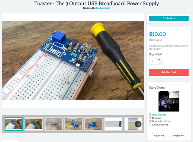 Toaster - Dual Output USB Step Up Breadboard Power Supply  by