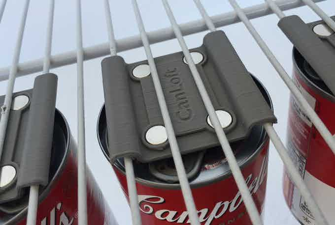 Even works with pull tab cans (3D printed prototypes shown)