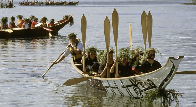 Traditional canoes landing at Alert Bay, British Columbia