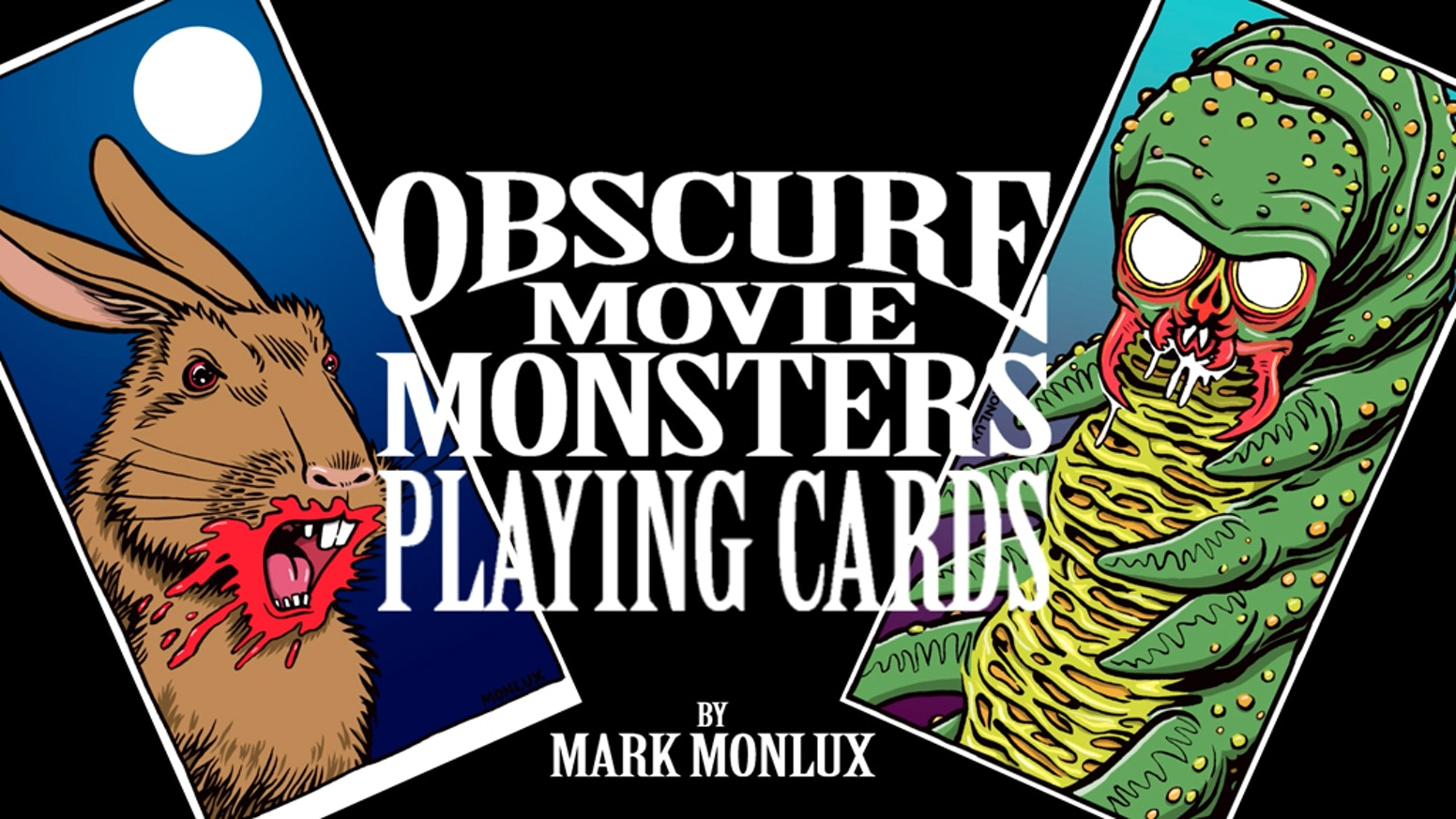 This standard poker deck features 52 original drawings of forgotten freaky foes from film. Horror movie aficionados will love it.