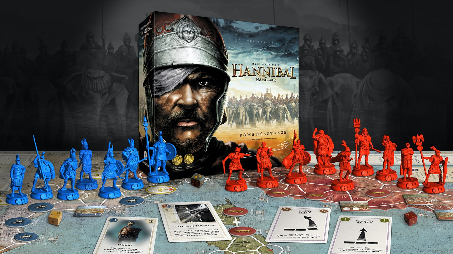 20th Anniversary Edition of award-winning 2-player game by legendary Mark Simonitch. Two games on epic struggle of Rome and Carthage.