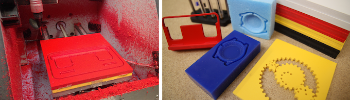 Don't worry, not a massacre - just the mess created by machining red Foamex! This is part of the reason the machine won't run with the door open! *Stabilo Stand, Spirograph & Phone holder all designed by ZenziWerken. Click for more ideas!*