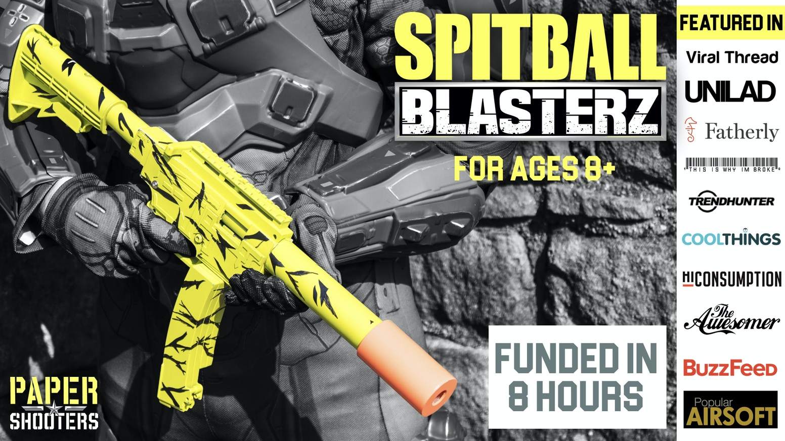 16 shots without reloading, ejecting shells, and 100% biodegradable ammo made from ordinary tissue paper. For Ages 8 to 99