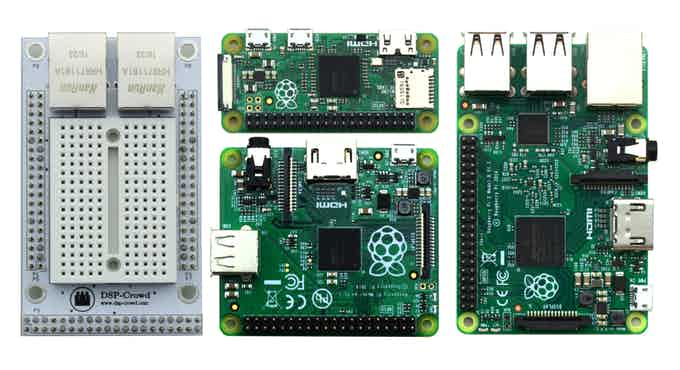 Our connector (on the left). And the Raspberry Pi Family (middle and right side)