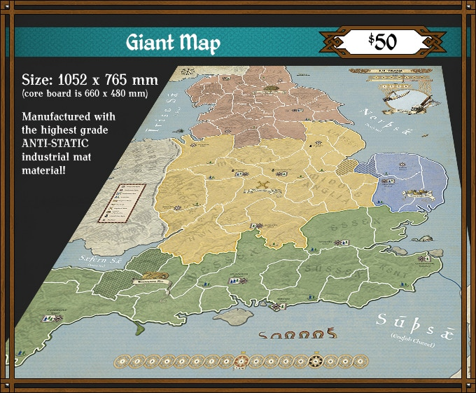 Add the 878 Vikings Giant Map to any Pledge level for $50. (Limited Availability - MRSP $60) Some countries outside of the USA will need to add extra shipping. See Shipping Table below.