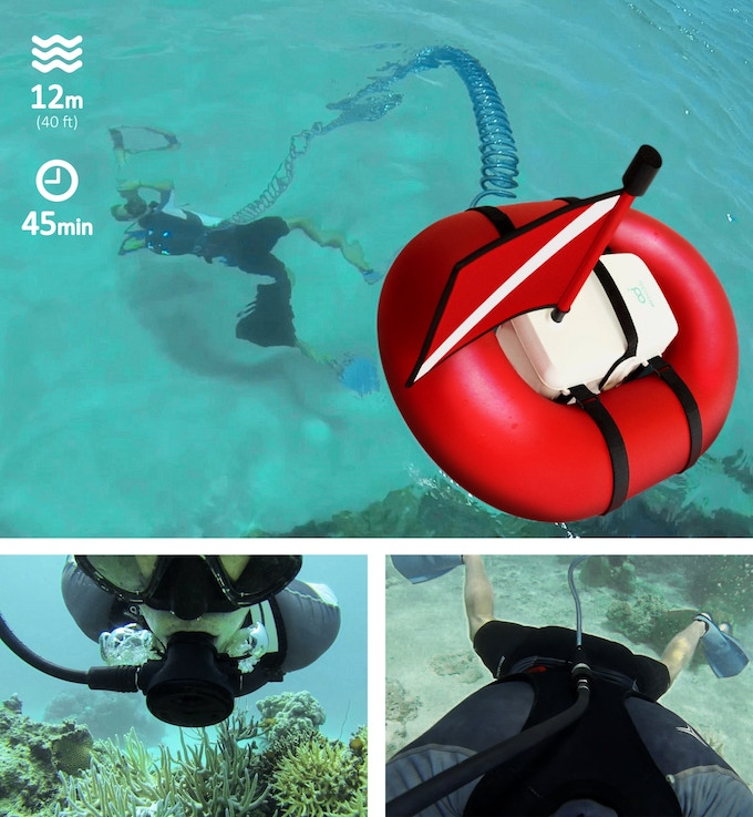 Airbuddy explore the underwater with tankless dive gear for Air compressor for pool closing