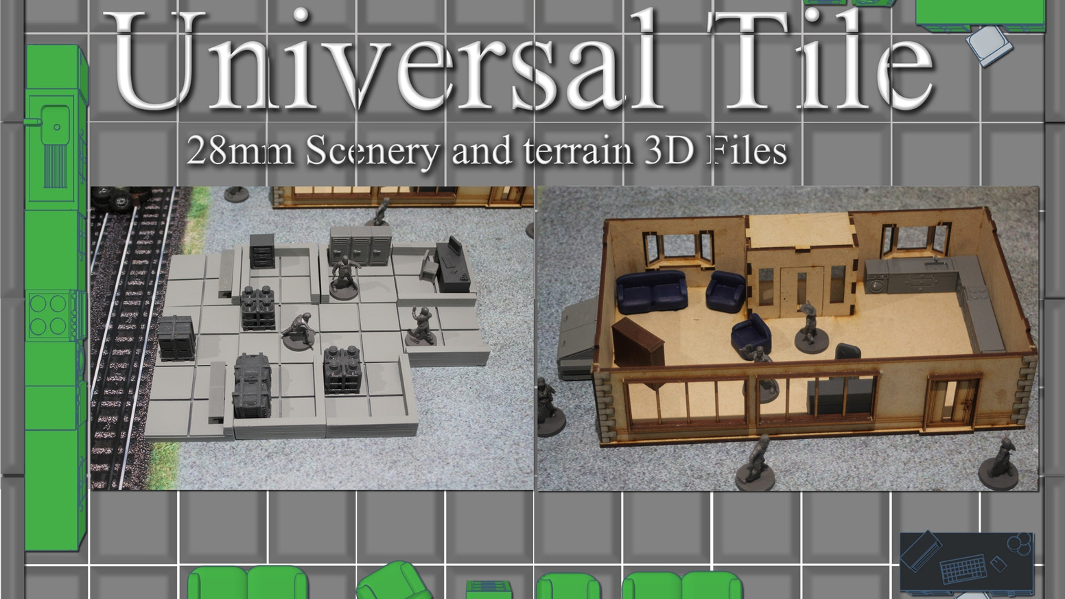 Universal Tile 3D Printing 28mm Tabletop Terrain - STL Files by