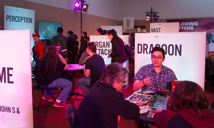 Inside the Kickstarter Games Castle at PAX East this month.
