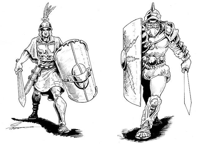 Hastatus and Gladiator (Secutor)