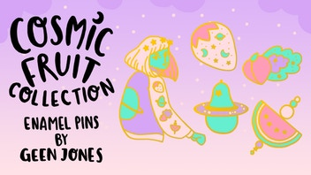 Cosmic Fruit Enamel Pins