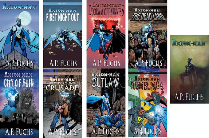 Covers to the Axiom-man novels!