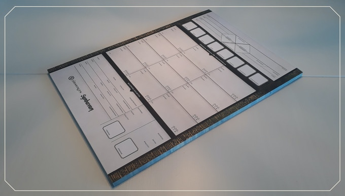 The pad of Character sheets in Swedish