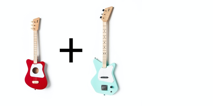The Loog Family Pack Electric includes 1 Loog Mini + 1 Loog Pro Electric. You'll be able to choose colors once the campaign ends.