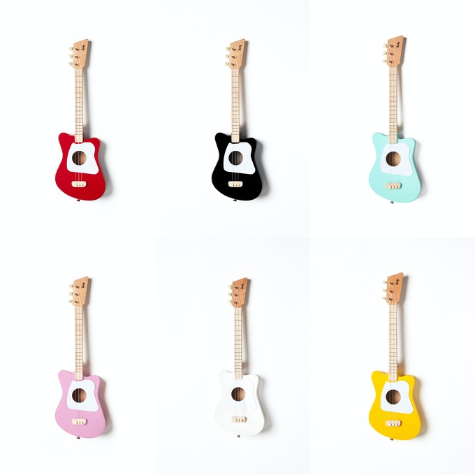 The Loog Mini comes in black, green, red, white, yellow and pink. You can choose your color once the campaign ends.