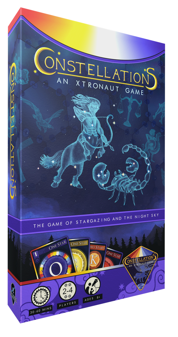 Constellations is for 2 - 4 players, ages 8+, and takes 30 - 60 minutes to play.