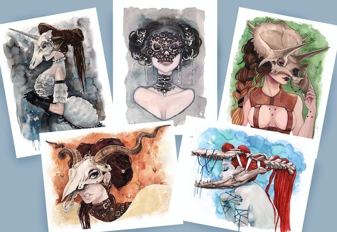5 Masquerade Art Prints by Carla Wyzgala