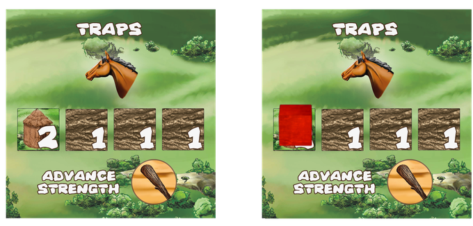 First player to Invent Traps gets 2 VP and adds a Grow action tile to the top of the action column. Other players that invent Traps later get 1 VP.