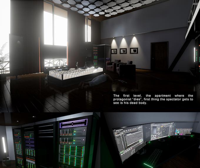 El primer nivel, el apartamento donde el protagonista muere, la primera cosa que el espectador ve es su cuerpo muerto.