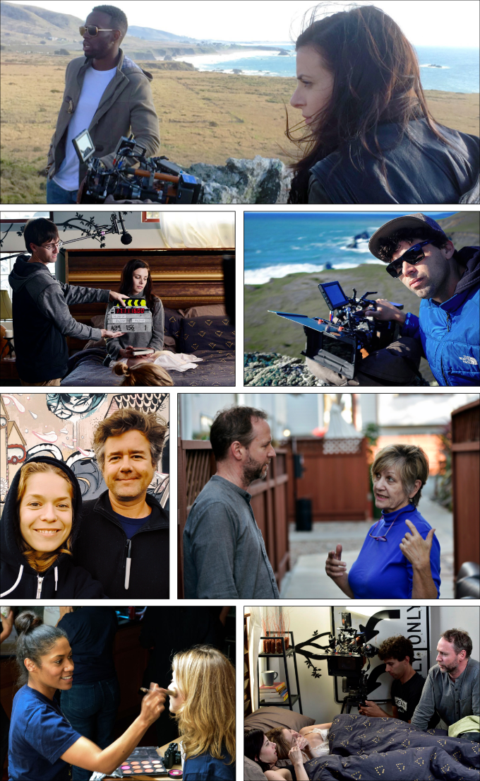 clockwise from top 1. Kelechi Nwadibia and Sarah Rose Butler, 2. Jason Joseffer, 3. Frazer Bradshaw and Cynthi Stefenoni, 4. Frazer works with Luise Helm and Sarah Rose, 5. Amber Loudermilk and Luise, 6. Luise and Hugo Fat, 7. Alex Zjicek slates a scene.