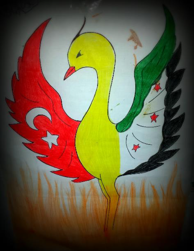"""Actual sketch by Syrian Refugee and the inspiration for our name: """"Anka"""" - a mythical bird that which obtains new life by arising from its ashes."""
