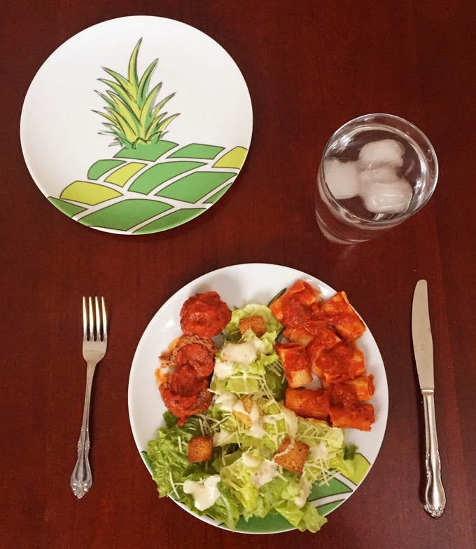 This is an example of a balanced meal I made with the simple portions plate. I filled the pineapple with veggies (Caesar salad) and on one side added my protein (meatballs) and on the other side starch (whole wheat rigatoni).