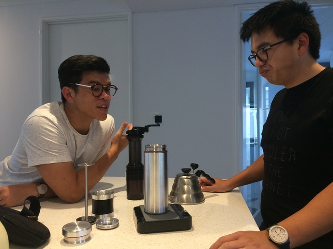 Dr Timothy Loy and Mark Loy, coffee and Kickstarter enthusiasts