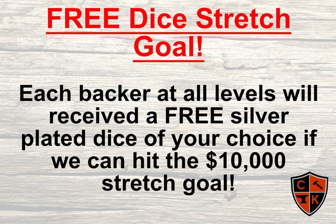 Each pledge level will receive an additional silver plated dice FREE of Charge!