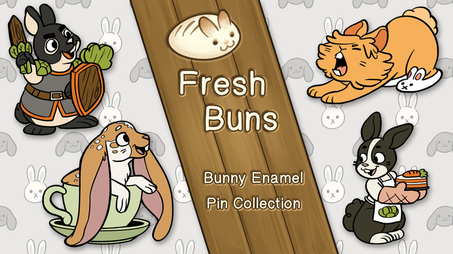 A cute set of enamel pins inspired by breeds of pet bunnies!